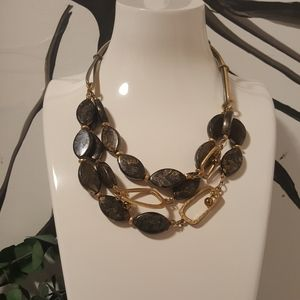 Chico's Black & Gold Marble Bib Necklace